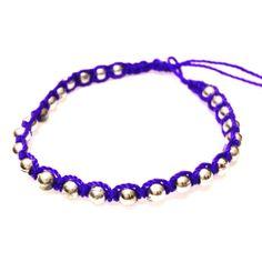 Purple Small Chrome Bracelet-£1 #prettytwisted http://prettytwistedonline.co.uk/product/purple-small-chrome-beaded-bracelet/
