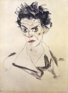 Egon Schiele - Self Portrait Bust - art prints and posters