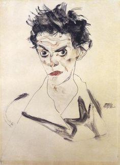 Egon Schiele - Self Portrait Bust - art prints and posters