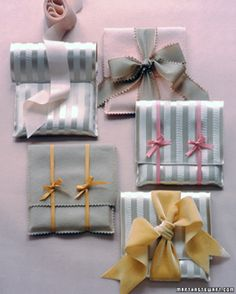 """See the """"Fabric Envelopes"""" in our Gift-Wrapping Ideas gallery. Personalize small gifts by slipping them into delightful hand-stitched pouches. Creative Gift Wrapping, Creative Gifts, Wrapping Ideas, Wrapping Gifts, Creative Ideas, Diy Gifts, Best Gifts, Handmade Gifts, Wrap Gifts"""