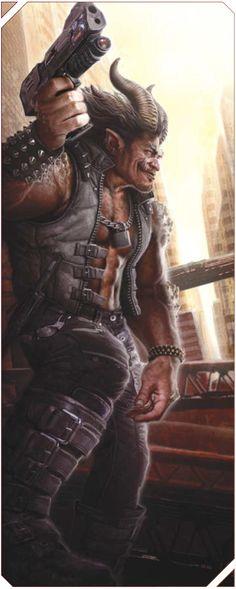 (Troll merc) Urban brawl vet, by Víctor Manuel Leza Gangsters, Shadowrun Game, Urban Rivals, Cyberpunk Rpg, Star Wars, Sci Fi Characters, Character Portraits, Sci Fi Fantasy, Sci Fi Art