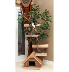 """The """"mac daddy"""" of Cat Tree Furniture With Leaves: Can't You Just See Your Kitty """"Hunting"""" Birds & Squirrels Thru The Window While Hiding In The Leaves?"""