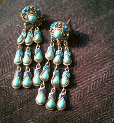 Antique Chinese Turquoise and Enamel Dangle  Earrings Gold Wash on Silver ??