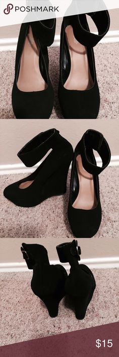 Black Wedges Black wedges very cozy nice classy look✨ never worn fresh out the box. Have any questions just ask :) Charlotte Russe Shoes Wedges