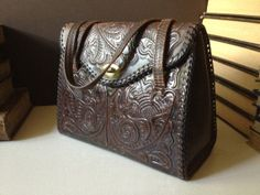 Vtg 1950s // Mahogany Brown Tooled Leather by JansVintageStuff, $102.00