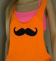 Mustache tank! Great for Zumba!!!