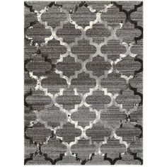 L and R Home Soft Shag White and Light Grey Indoor Area Rug