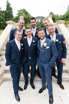 Groom in Reiss Suit | Groomsmen in Ted Baker Suits - Julie Michaelsen Photography | Classic Wedding at Fetcham Park, Grade II Listed House in Surrey | Bride in Enzoani Wedding Dress | Bridesmaids in Bespoke Pink Floral ASOS Dresses | Groomsmen in Navy Reiss & Ted Baker Suits