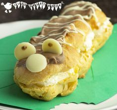 CATERPILLAR CHOCOLATE ECLAIRS - a super cute and tasty treat for kids and they'll love helping to beat the mixture too.