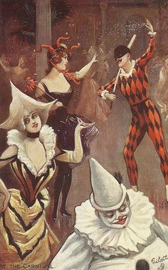 В карнавальном This drawing has Harlequin in the rear and Poirrot in the foreground. Circus Art, Circus Theme, Art Vintage, Vintage Circus, Mardi Gras, Pierrot Clown, Send In The Clowns, Foto Art, Vintage Halloween