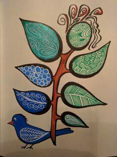 L'oiseau bleu et la plante