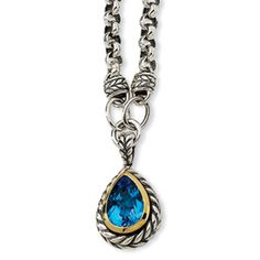 Sterling Silver w/14k 6.80ct Swiss Blue Topaz 17in Necklace. Contains .925 sterling silver and 14k gold.