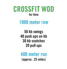 crossfit work out of the day (WOD). One or two rounds.