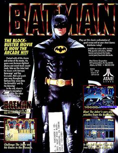 This page advertises a conversion kit for the Batman arcade game in 1990 created by Atari. It was included in a catalog or industry magazine for video arcades.    Take a look at the full video game and specs here.       Video Game Systems  Information.