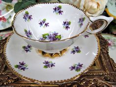 Royal Stafford Teacup Sweet Violets Purple Tea Cup and Saucer Duo   eBay