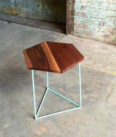 Modern Hexagon Walnut Side Table with Triangle Steel Base