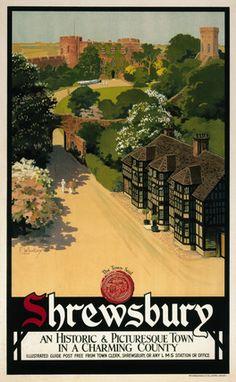 'Shrewsbury', LMS poster, c 1920s.
