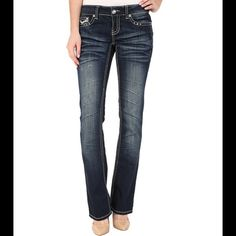 """❗️ SALE ❗️  BOOT LEG STRETCH JEANS (28) 33"""" inseam. 98% cotton 2% spandex. Low rise jeans with a slim fit and boot cut legs. Rhinestones and heavy stitching detail accents the coin pocket and button flap back pockets. NO TRADES. Please do not buy this listing. Comment with your size and I will make a separate listing for you. Antique Rivet Jeans Boot Cut"""