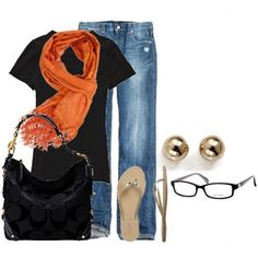 Outfit - black tee + jeans + orange scarf + gold studs + gold sandals