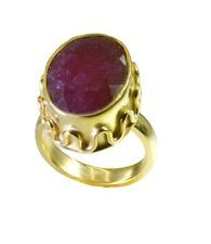 comely Indian Ruby Gold Plated Red Ring supplies L-1in US 5678