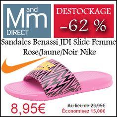 #missbonreduction; Déstockage : économisez 62 % sur les Sandales Benassi JDI Slide Femme Rose/Jaune/Noir Nike chez MandMDirect.http://www.miss-bon-reduction.fr//details-bon-reduction-MandMDirect-i853876-c1830274.html