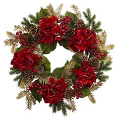 Featuring bold and bright holiday hydrangea blooms, the Nearly Natural 24 in. Hydrangea Pine Wreath emanates holiday cheer with green and gold pine. Red Hydrangea, Hydrangea Not Blooming, Hydrangea Wreath, Deco Mesh Wreaths, Door Wreaths, Wooden Wreaths, Christmas Crafts, Christmas Decorations, Christmas Ideas