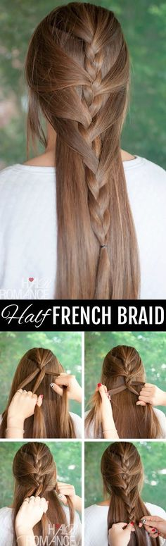 20 Best Braid for Long Hair - Half French Braided Hairstyle Tutorial: Chic Long Hairstyles Ideas #hairstyles #BraidedHairstyles