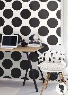 Accent wall behind desk: Self Adhesive Polka Dot Pattern Vinyl Wallpaper D116 by Livettes