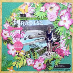 """<p>Hi Everyone, Pam here. Say Aloha is bright, bold and full of colour, and I have had such fun using it this month. This layout is all about cutting and slotting!First I cut around the corner design of the Tropical Gloss paper. To cut around a design like this it <a href="""" http://www.merlyimpressions.co.uk/blog/project-portfolio/scrapbooking/say-aloha-layout/ """"> …click to read more</a></p>"""