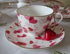 Chintz Cottage: Chocolate and Hearts for Tea Time Coffee Time, Tea Time, Coffee Cups, Tea Cups, Chocolate Cafe, Red Cottage, Teapots And Cups, My Cup Of Tea, Tea Cup Saucer