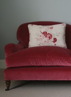 Sofa upholstered in Kate Forman's 'Red Velvet' - A soft yet rich red with a hint of pink.