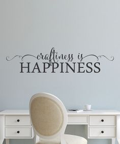Take a look at the Black 'Craftiness is Happiness' Decal on #zulily today!