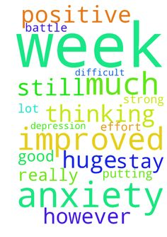 I have had a much improved week with my anxiety  and - I have had a much improved week with my anxiety and depression. I am really putting a lot of effort in positive thinking however, i still need prayer to help me stay strong because this is a huge difficult battle. God is good Posted at: https://prayerrequest.com/t/BUY #pray #prayer #request #prayerrequest