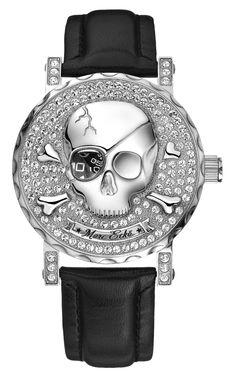 ☠ Marc Ecko Old Skull Black Leather Strap Watch ☠