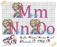 Disney Cross Stitch Patterns, Cross Stitch Designs, Cross Stitch Alphabet, Cross Stitch Embroidery, Frozen Cross Stitch, Plastic Canvas Letters, Loom Patterns, Letters And Numbers, Kids Cards