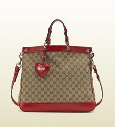 Valentine Bag with Hand-stitched Heart-shaped Leather Charm and Gucci Script Logo - Gucci ( Tote / shoulder Shopper Leather Fabric Red Brown Tan) Stylish Handbags, Cute Handbags, Fashion Handbags, Purses And Handbags, Gucci Handbags, Designer Handbags, Gucci Outlet Online, Gucci Bags Outlet, Christian Audigier