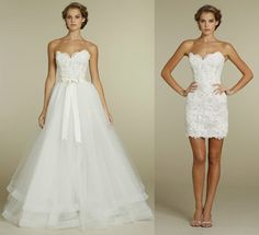 Double dress. Wear the long dress for the ceremony and the short dress for the reception.