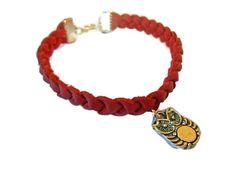Bracelet en cuir tressé et hiboux : Bracelet par couleur-grenadine33