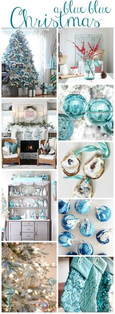 A Blue blue Christmas Style Series- decorate your home with blue decor for Christmas! #christmasdecor