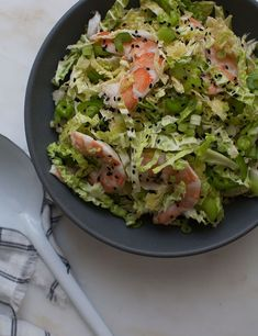 Savoy Cabbage Shrimp Salad is a bright and healthy side dish for Summertime.