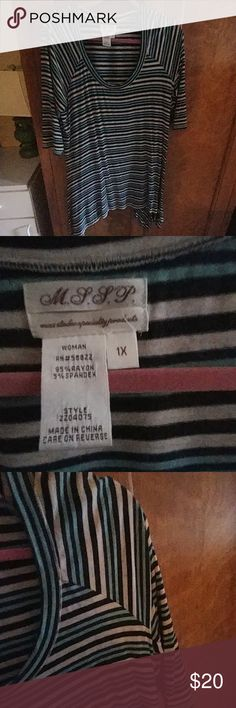 MSSP Tunic Stripes, new condition, sleeves to elbow, scoop neck Tunic. Soft, Flowy and comfortable to wear. mssp Tops Tunics