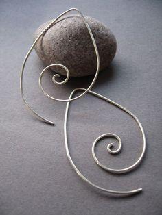 Sterling Silver Spiral Teardrop Swirl Earrings