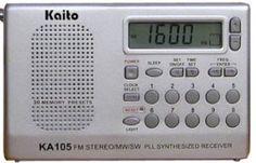 Kaito KA105 Portable radio by Kaito. $45.00. Aluminum Alloy Front, Stainless steel antenna FM:87.50-108.0 MHz MW:522-1710 MHz SW:5.95-15.60 MHz. Save 36% Off!