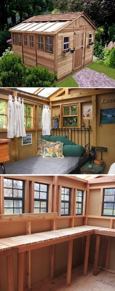 How's this for a dream potting shed? It's plenty roomy and filled with natural light. And it's simply beautiful. Imagine this as your garden getaway for hobbies, gardening, retreats and storage. Wouldn't that be wonderful?