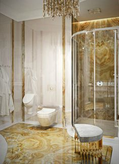18) FAKE SQUARE FOOTAGE WITH GLASS SHOWER – Glass shower doors, like you can see in this project by Koket, add instant square footage.