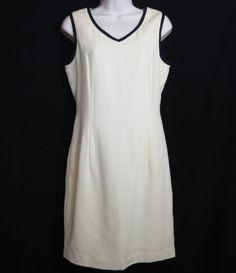 Peter Nygard Cream Ivory 100% Pure Wool Sleeveless Sheath Dress Size 4 Made in Canada - so classy