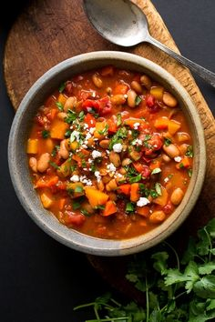 I have made several versions of vegetarian chili; in some the beans take center stage, others are just as focused on vegetables. This thick, satisfying chili is equally focused on both. (Photo: Andrew Scrivani for The New York Times)