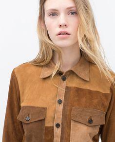 ZARA LEATHER PATCHWORK SHIRT / http://www.zara.com/us/en/woman/fresh-suede/leather-patchwork-shirt-c605001p2602537.html
