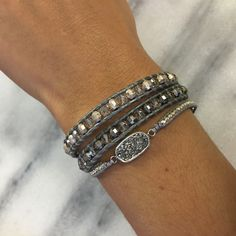 Silver Shade Double Wrap Bracelet on Grey Leather - Chan Luu