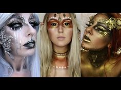 In this video today i have joined two amazing artists to bring you a futuristic metallic goddess collaboration. Phoenix Makeup, Halloween Makeup, Halloween Costumes, Futuristic Costume, Tribal Makeup, Cosplay Tutorial, Makeup Designs, Makeup Inspiration, Makeup Ideas